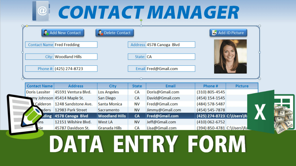 Free Excel Data Entry Form