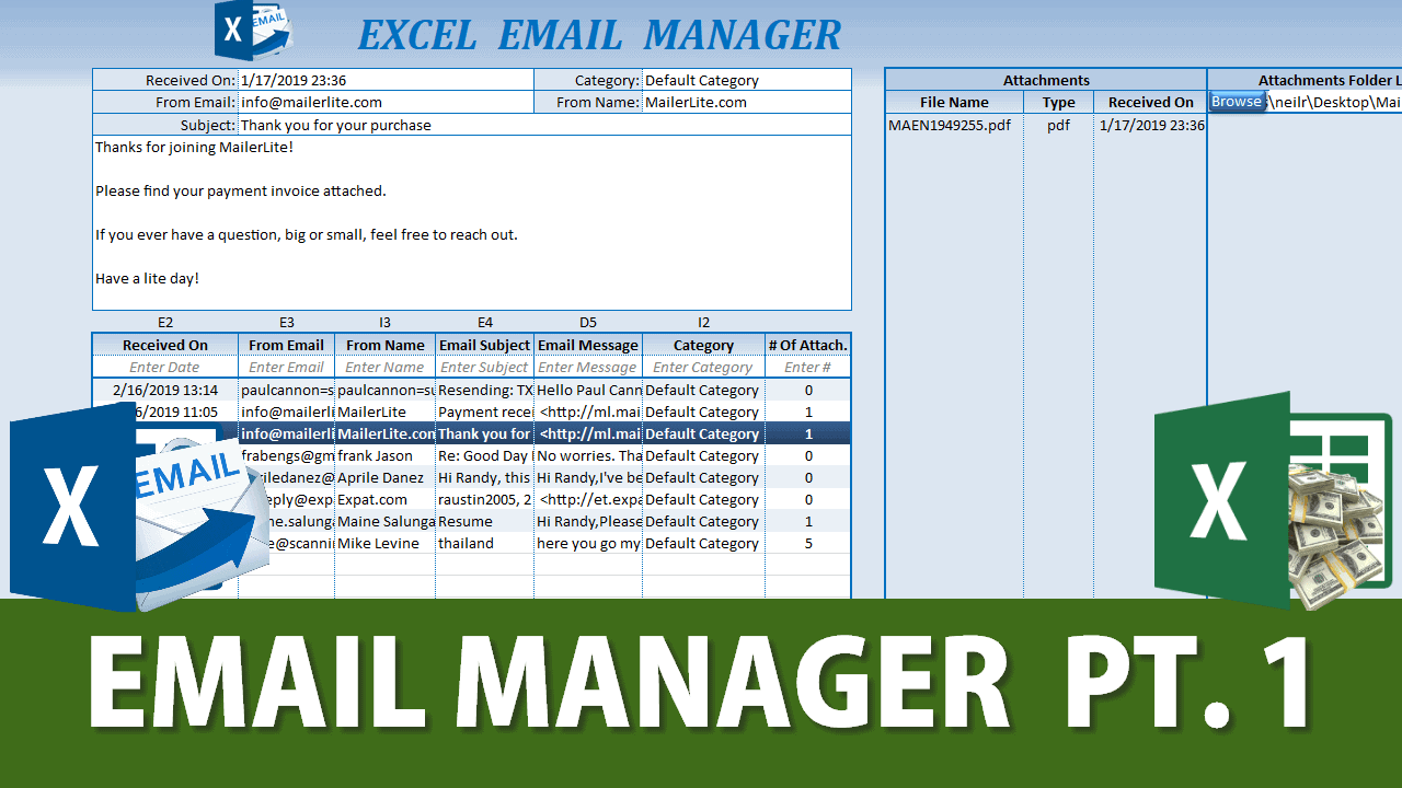 Outlook To Excel Email Manager
