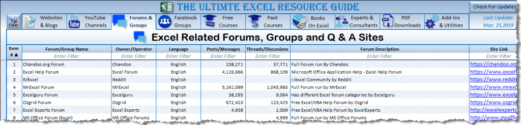 Excel Forums & Groups _Resource Guide